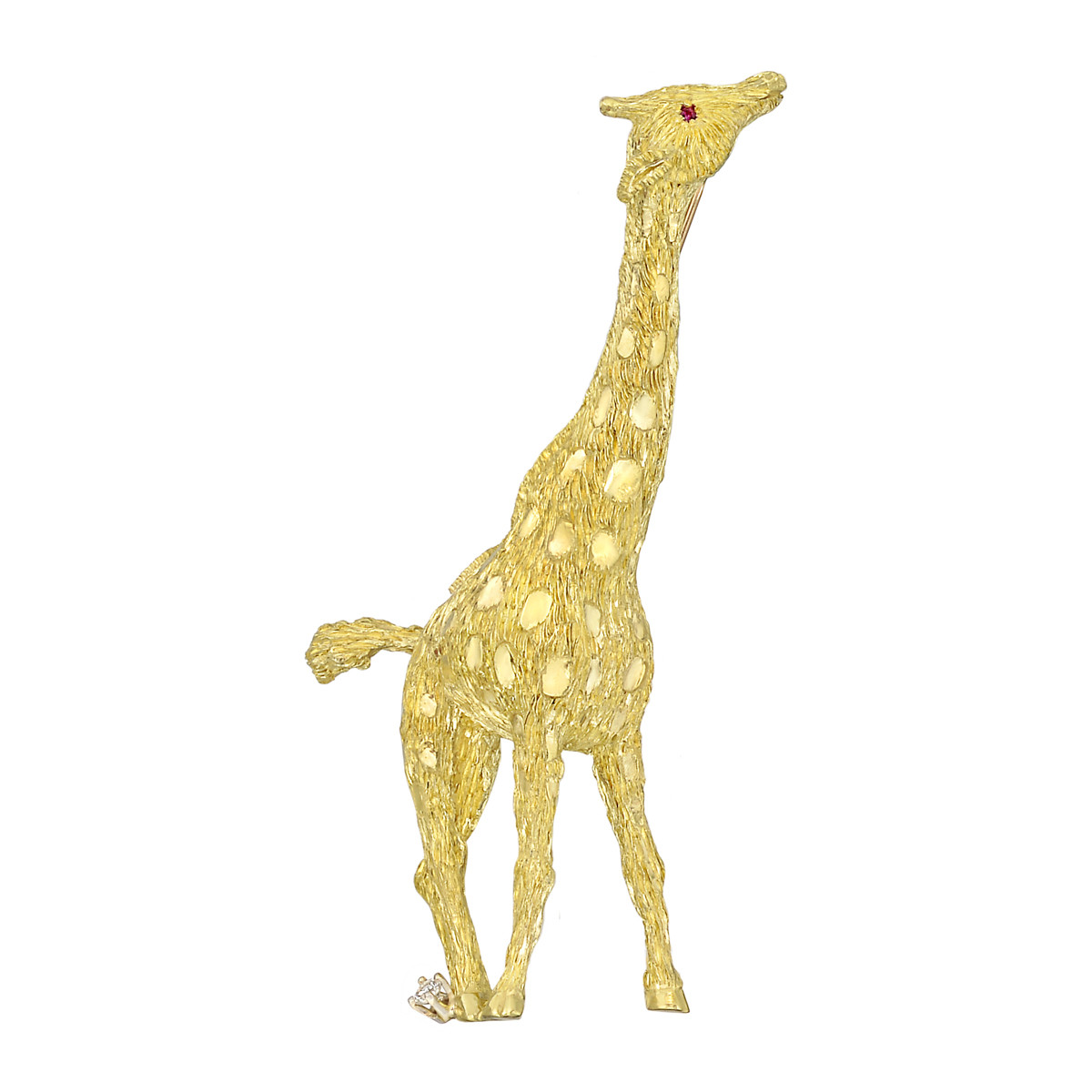 18k Gold, Ruby & Diamond Giraffe Pin