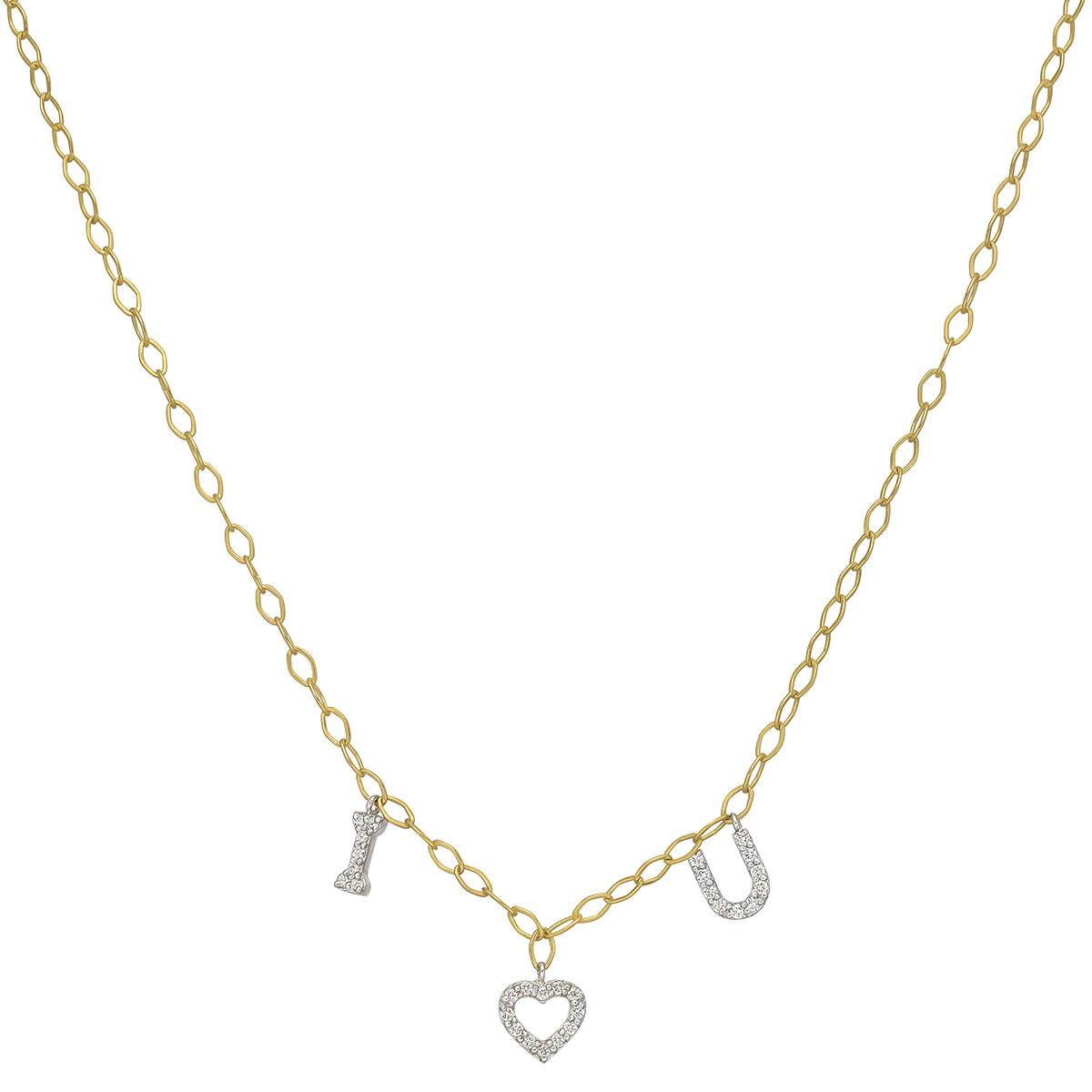 "18k Gold & Diamond ""I LOVE YOU"" Charm Necklace"