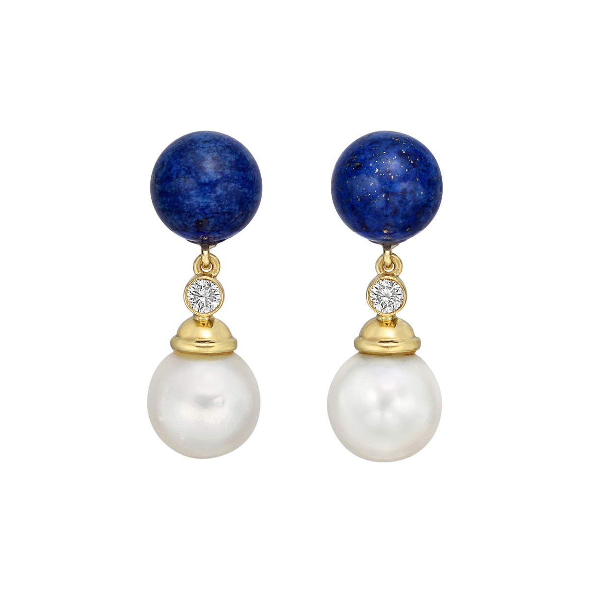 18k Yellow Gold, Lapis, Pearl & Diamond Earrings