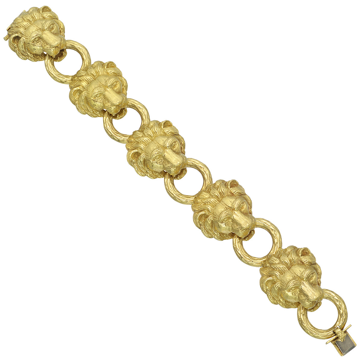 18k Yellow Gold Lion Head Link Bracelet