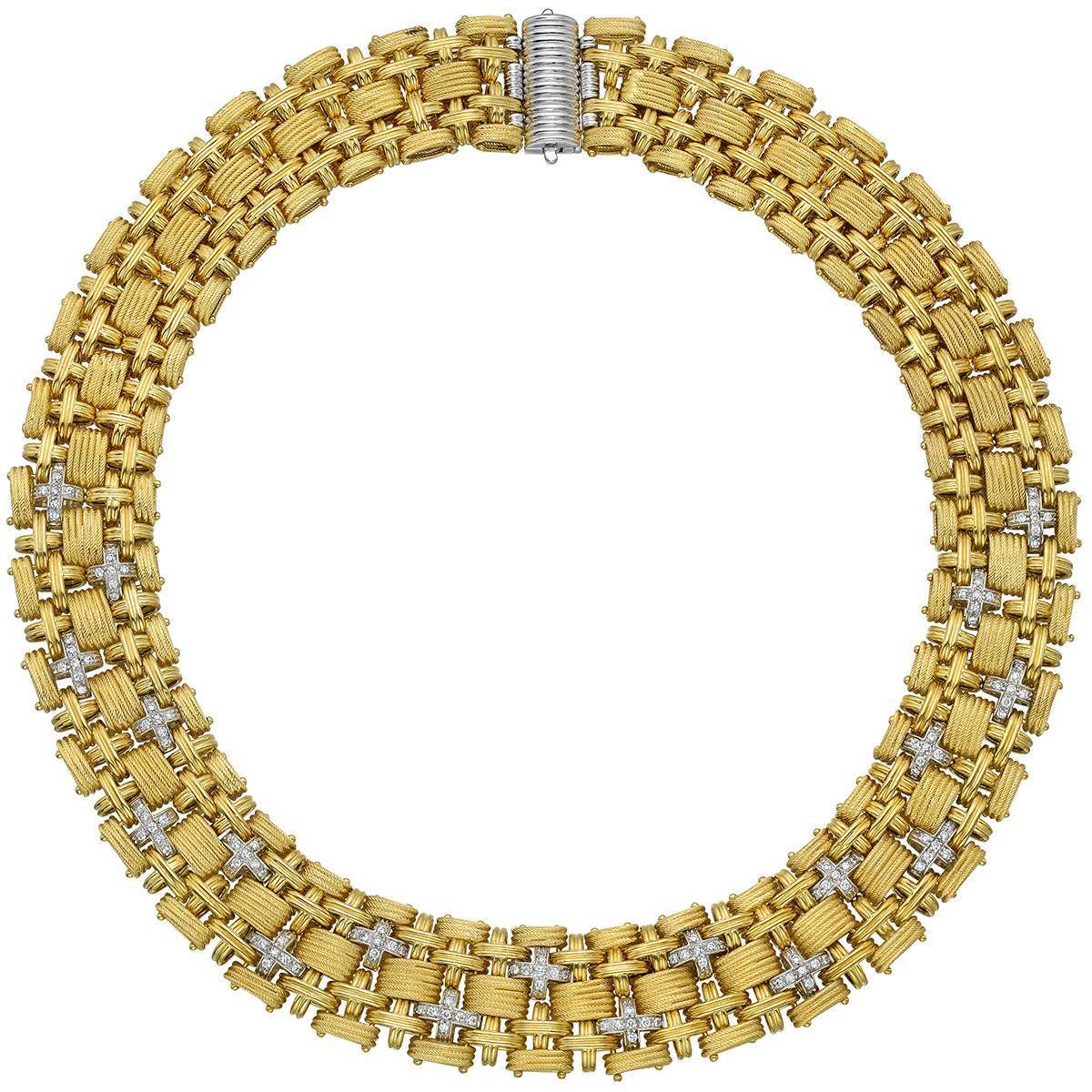 18k Yellow Gold & Diamond Collar Necklace