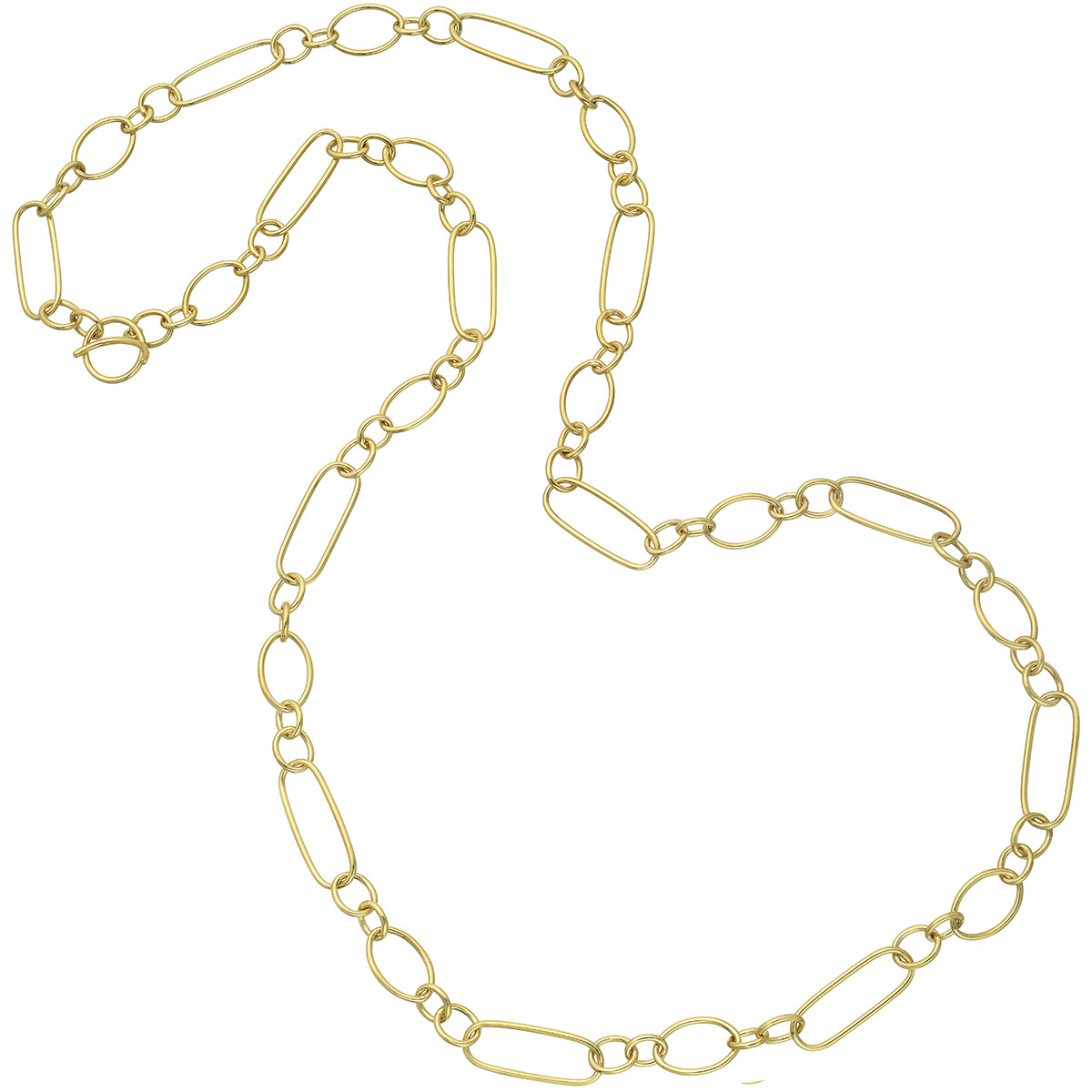 18k Yellow Gold Multisized Oval Link Long Necklace