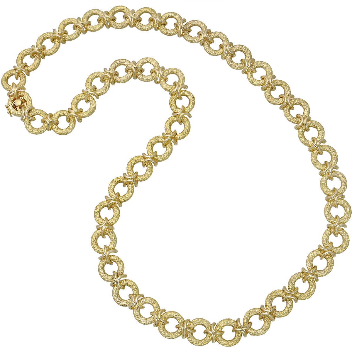 14k Yellow Gold Open Circle Link Necklace