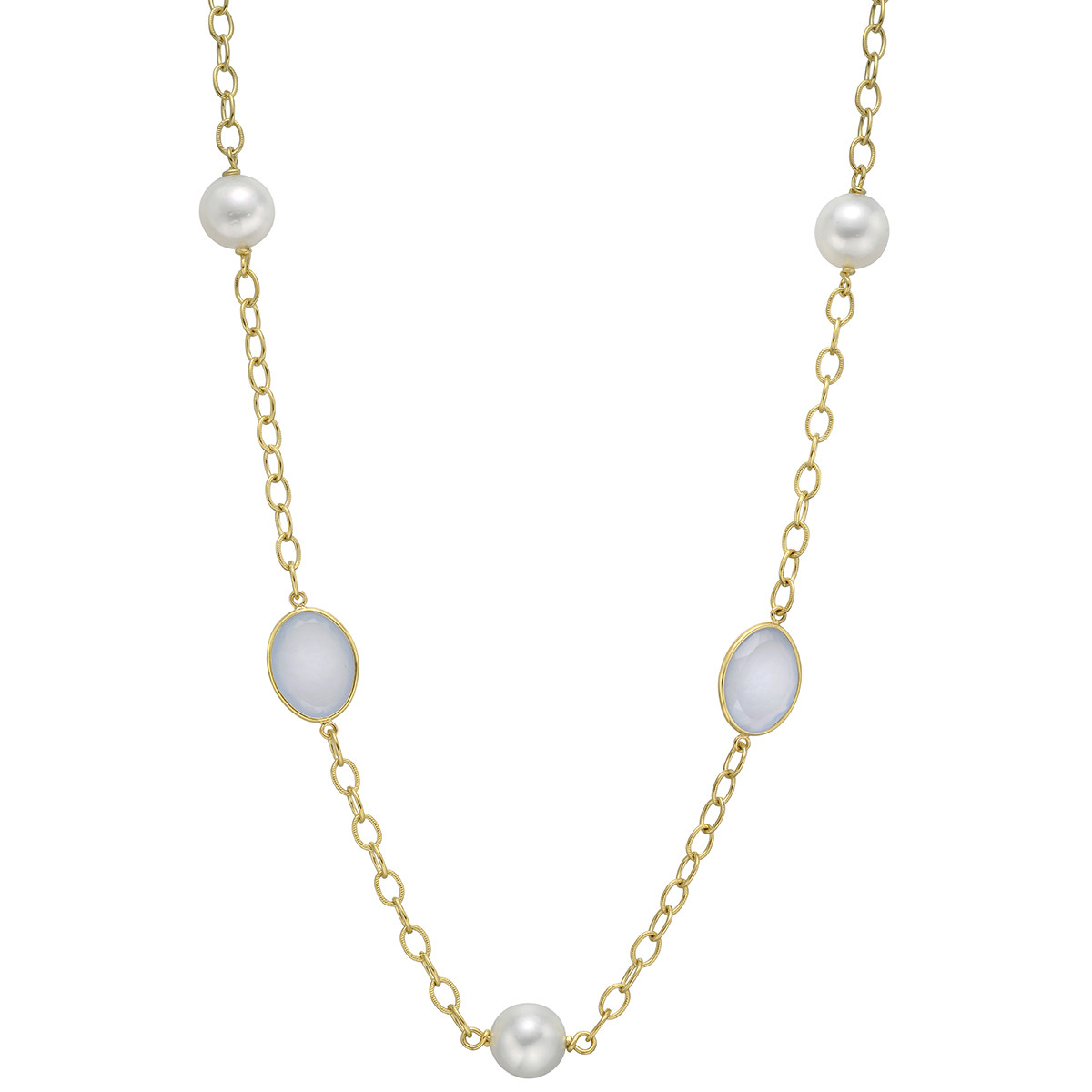 18k Yellow Gold, Chalcedony & Pearl Long Necklace