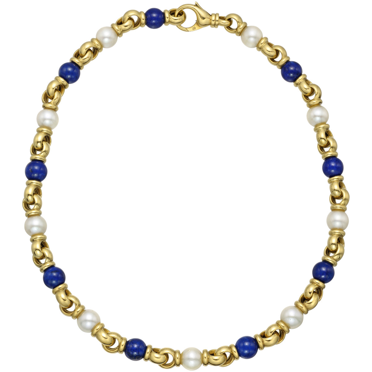 18k Yellow Gold, Lapis & Pearl Necklace