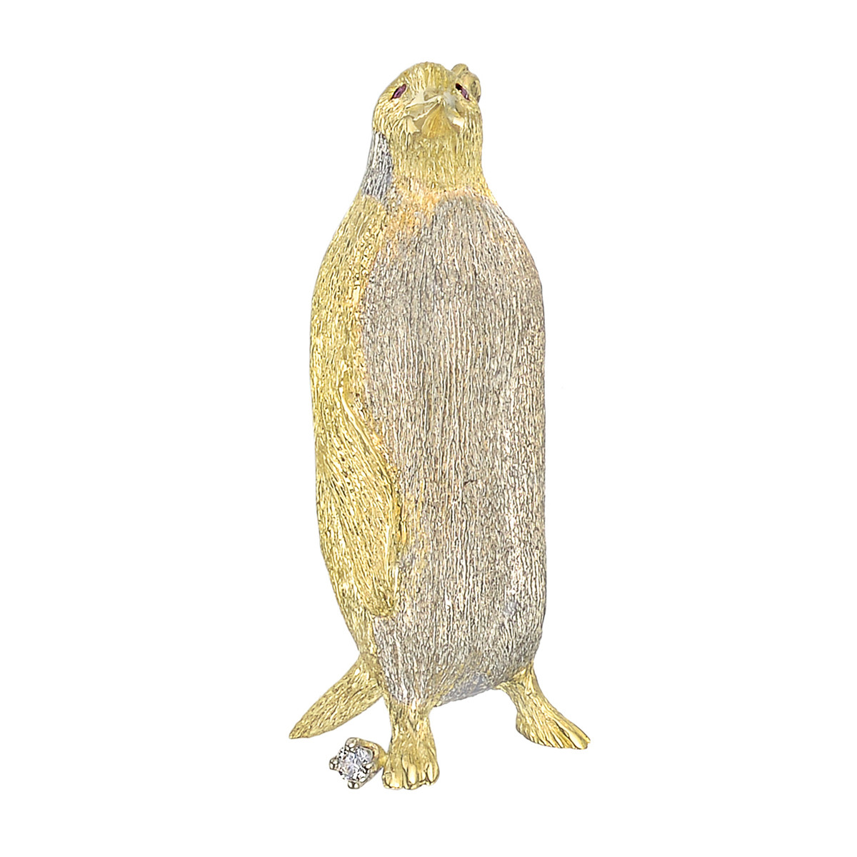 18k Gold, Ruby & Diamond Penguin Pin