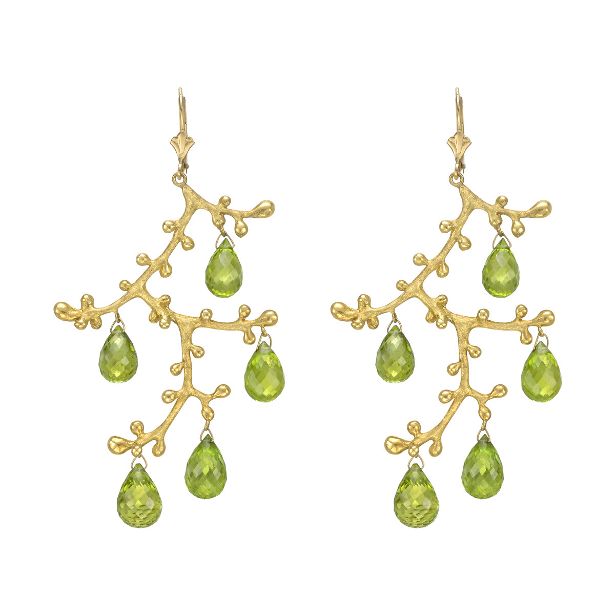 Chandelier earrings, with branch motifs in textured 18k yellow gold suspending briolette-cut peridot drops, by Joseph Murray. French wire tops.