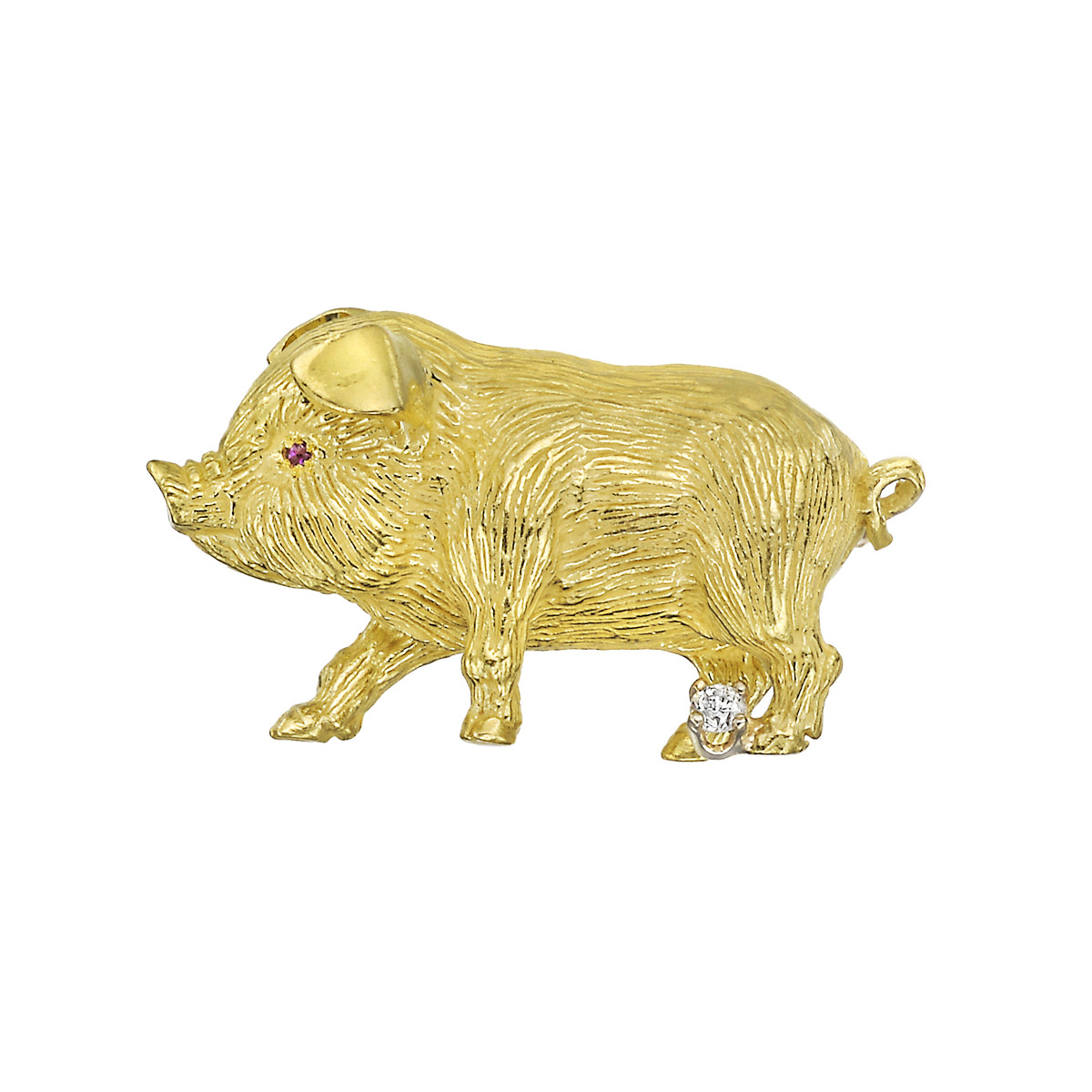 18k Yellow Gold & Diamond Pig Pin
