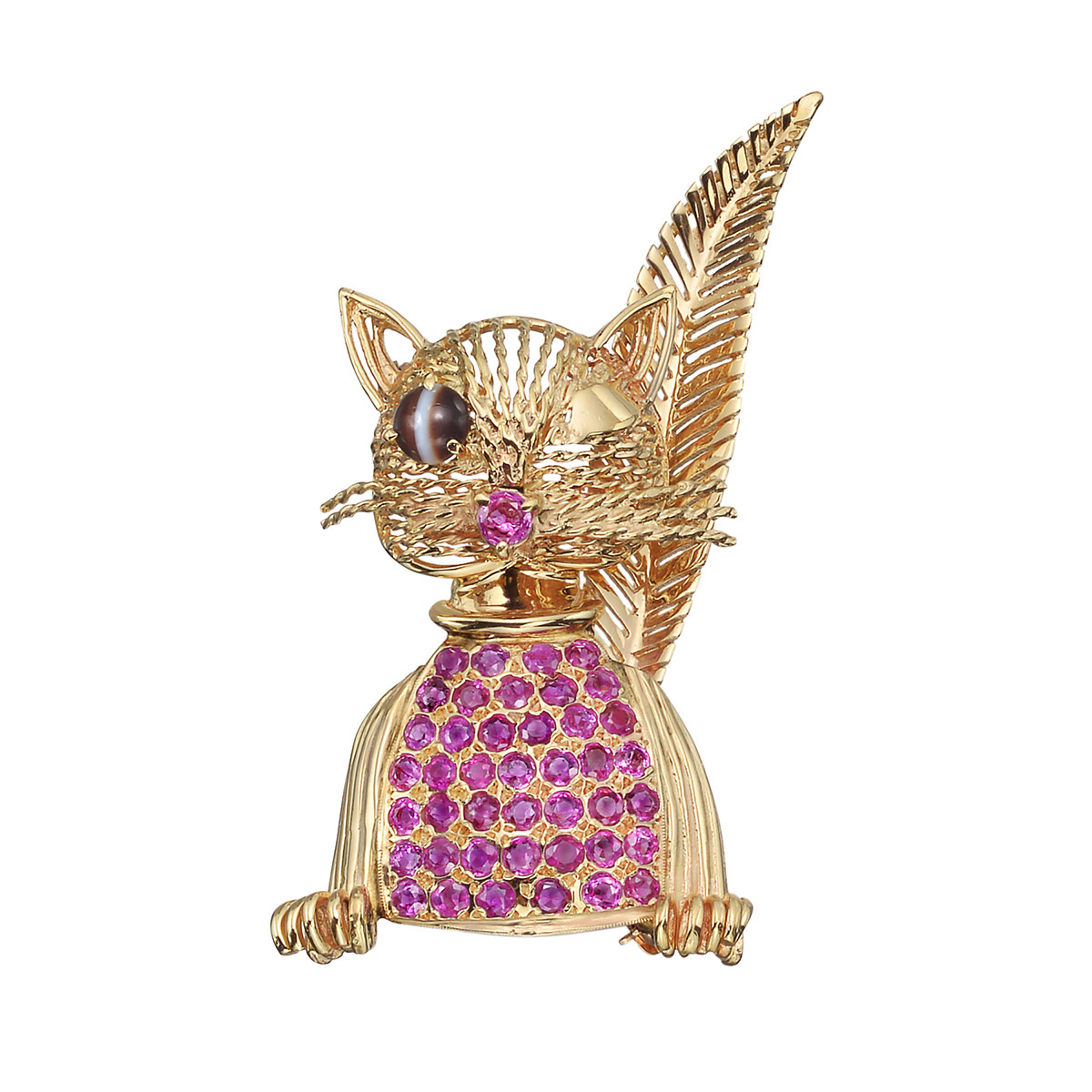 Vintage 14k Yellow Gold & Pink Sapphire Cat Pin