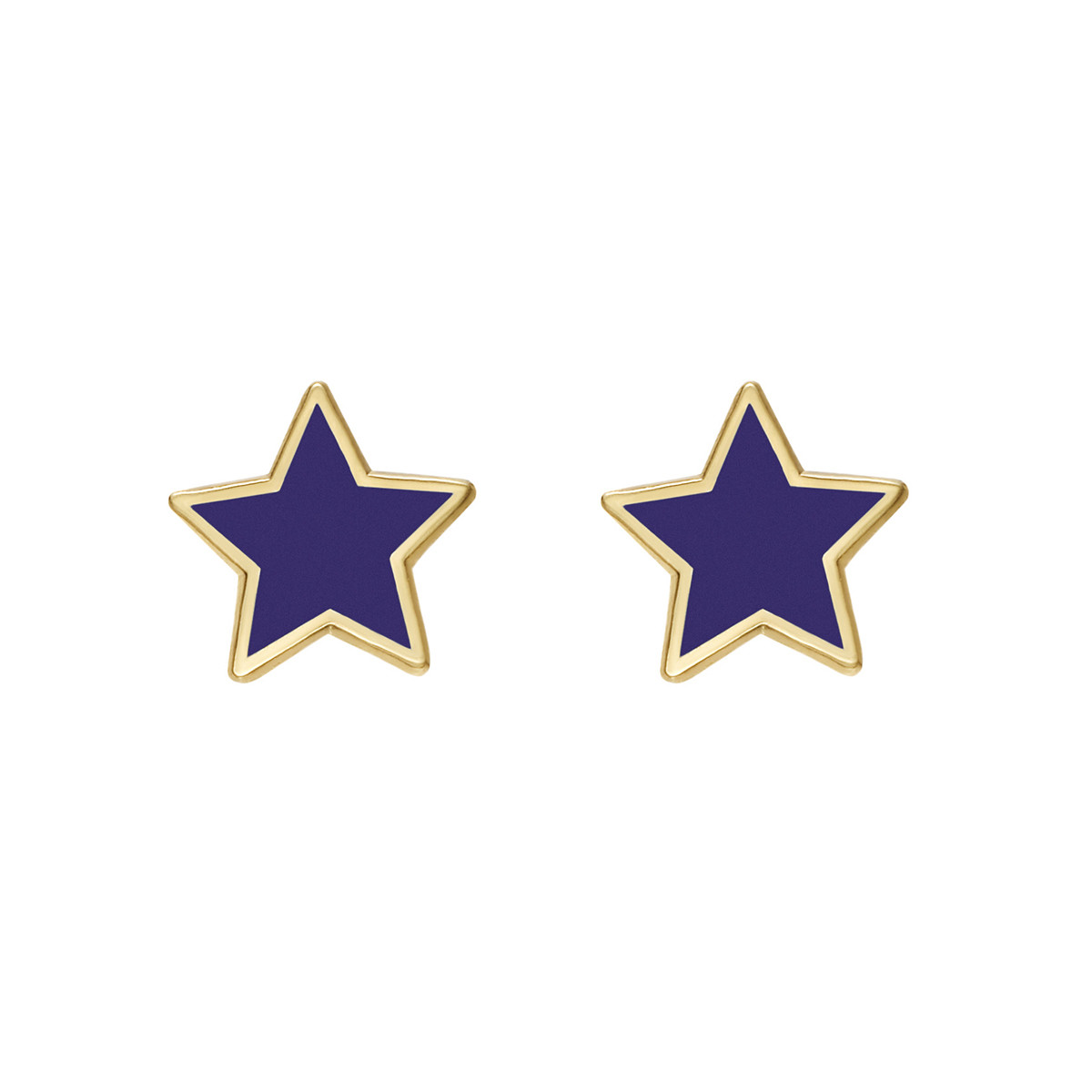 14k Gold Purple Enamel Star Earstuds