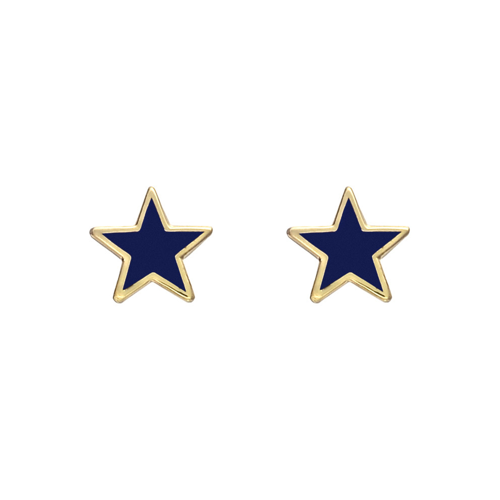 Small 14k Gold Purple Enamel Star Earstuds