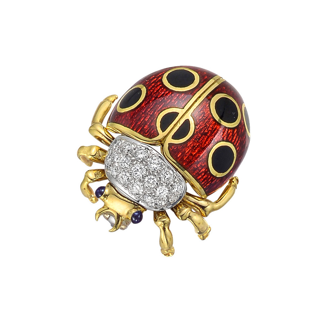 18k Yellow Gold, Diamond & Enamel Ladybug Pin