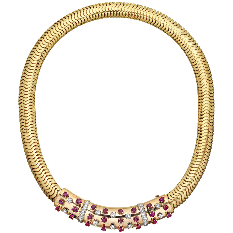14k Gold, Ruby and Diamond Collar Necklace