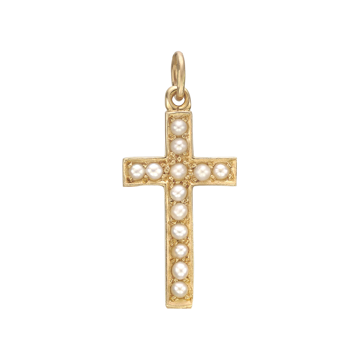 Medium 14k Yellow Gold & Pearl Cross Pendant