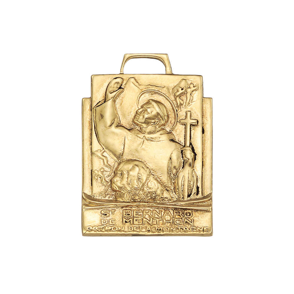 14k Yellow Gold St Bernard Pendant