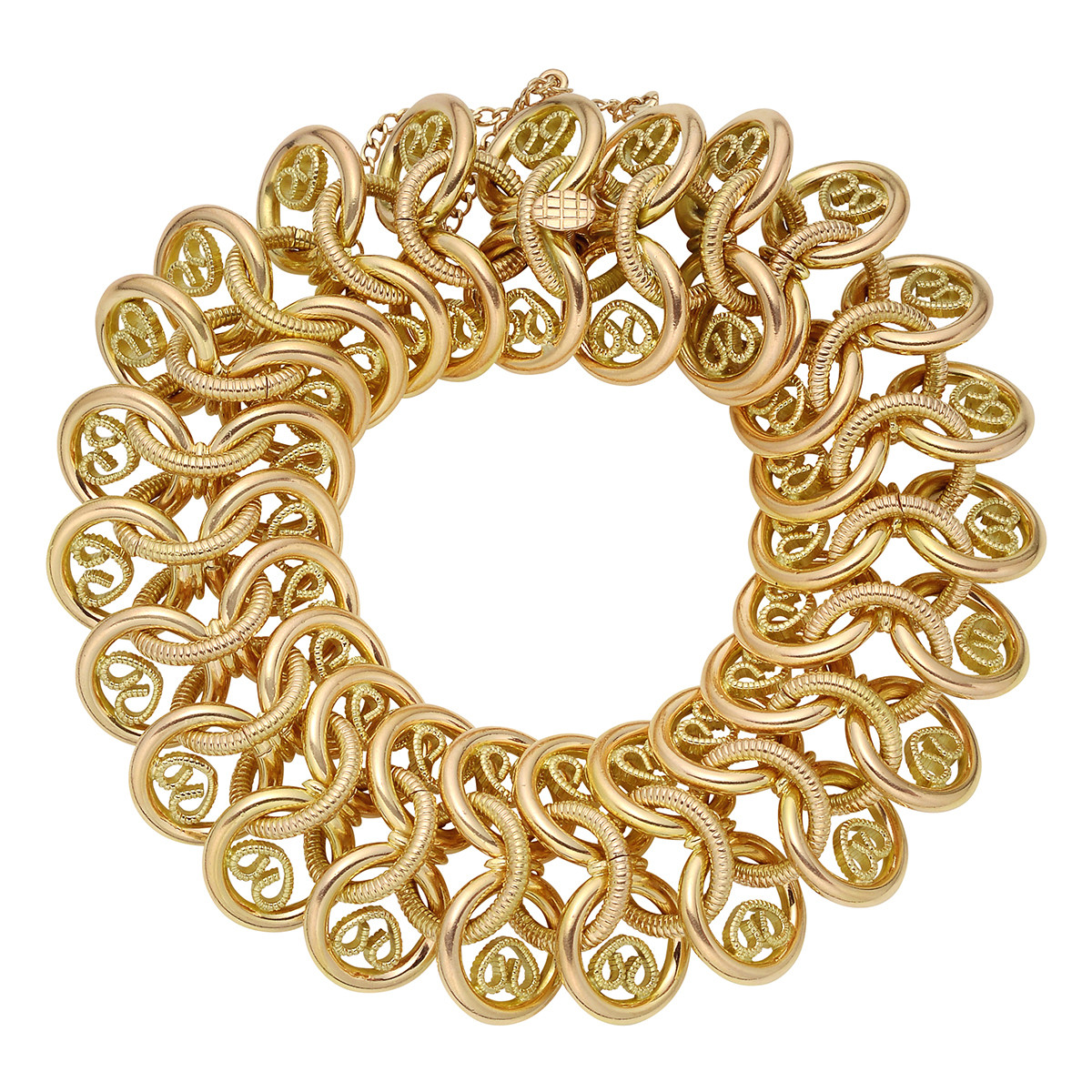 18k Yellow Gold Wide Circle Link Bracelet