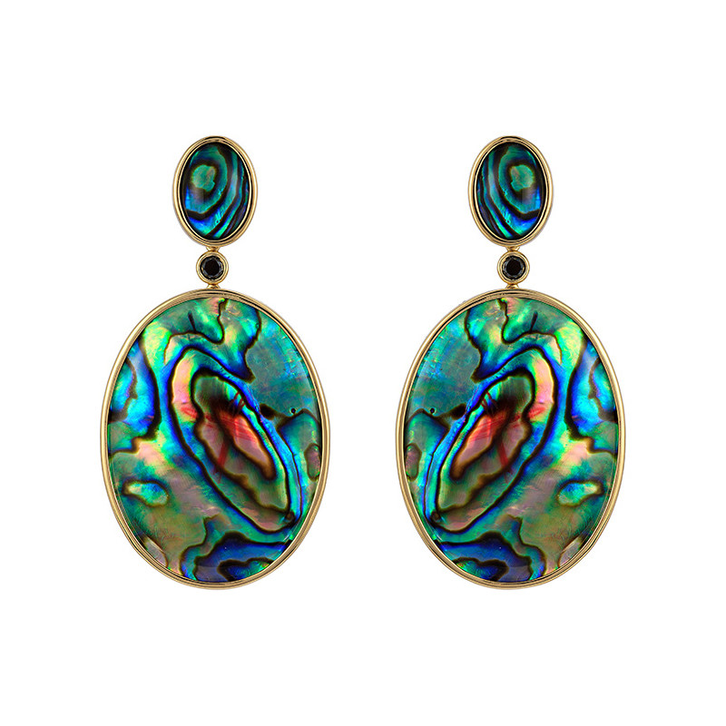18k Gold & Abalone Shell Pearl Drop Earrings