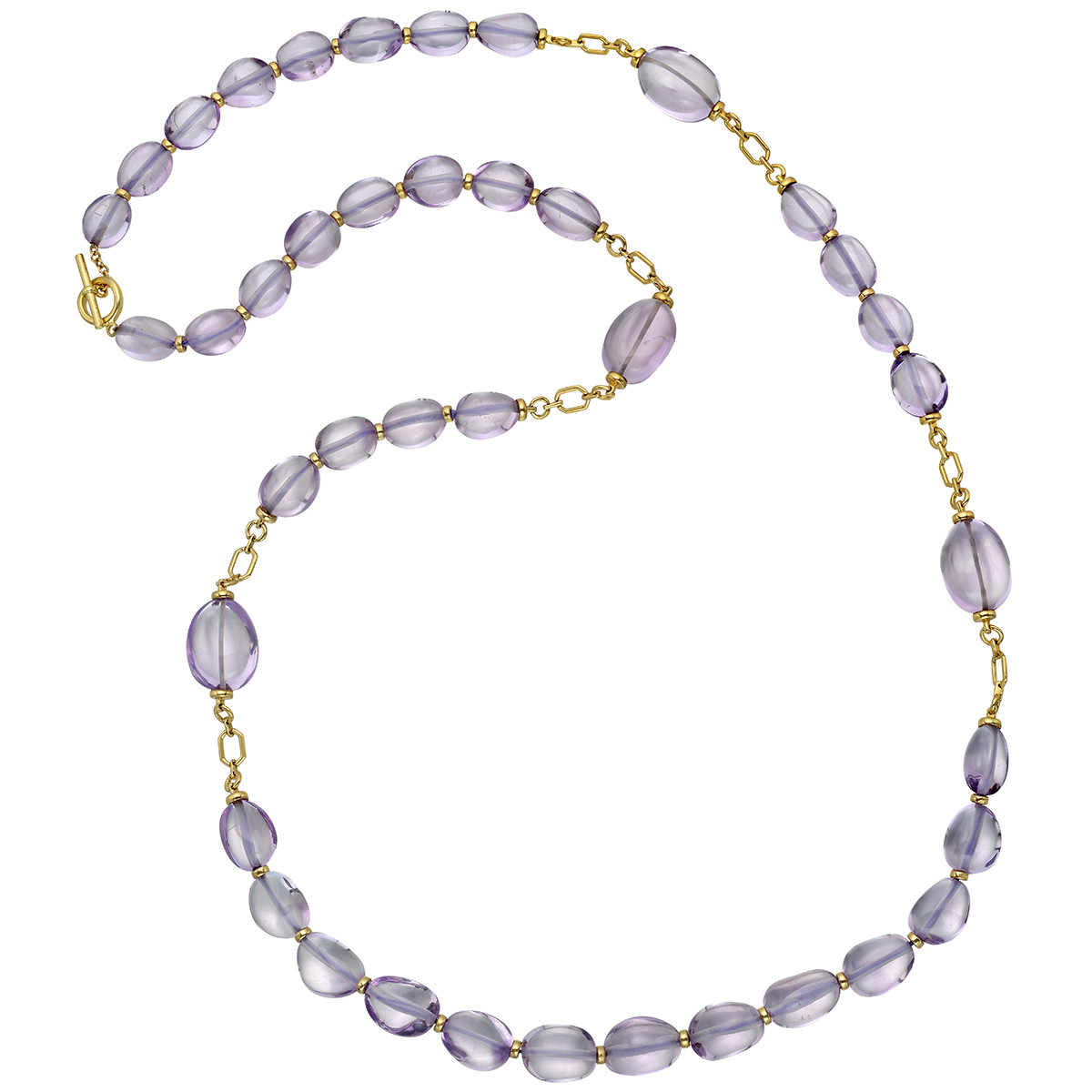 18k Yellow Gold & Amethyst Bead Long Necklace