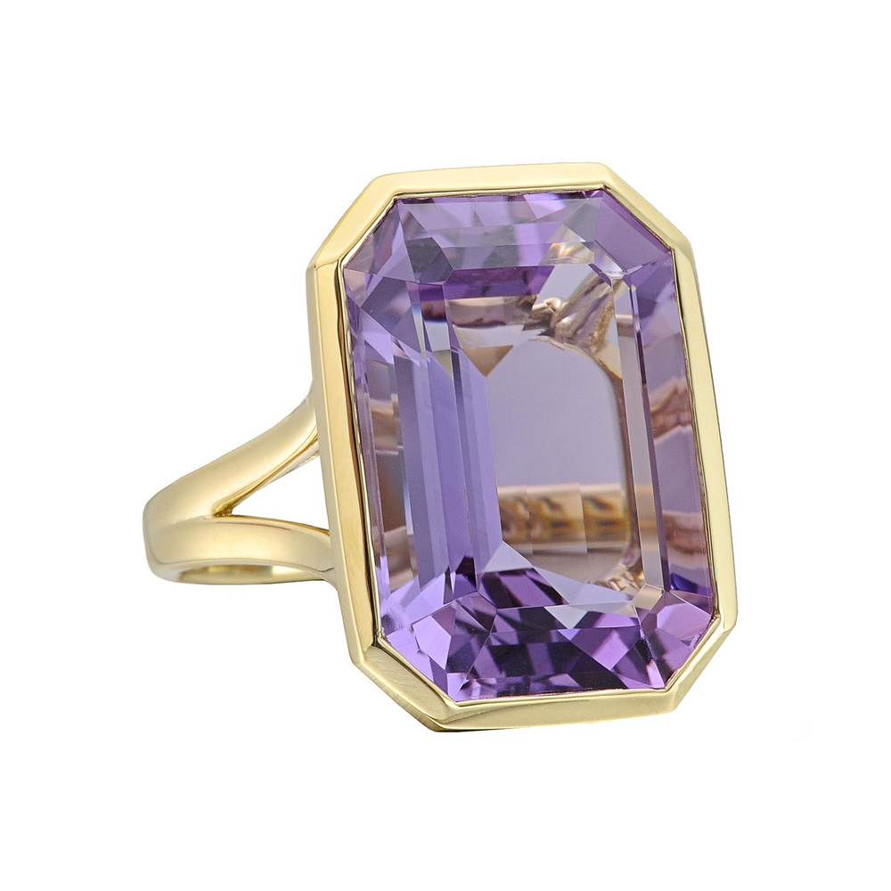 Large Emerald-Cut Amethyst Cocktail Ring