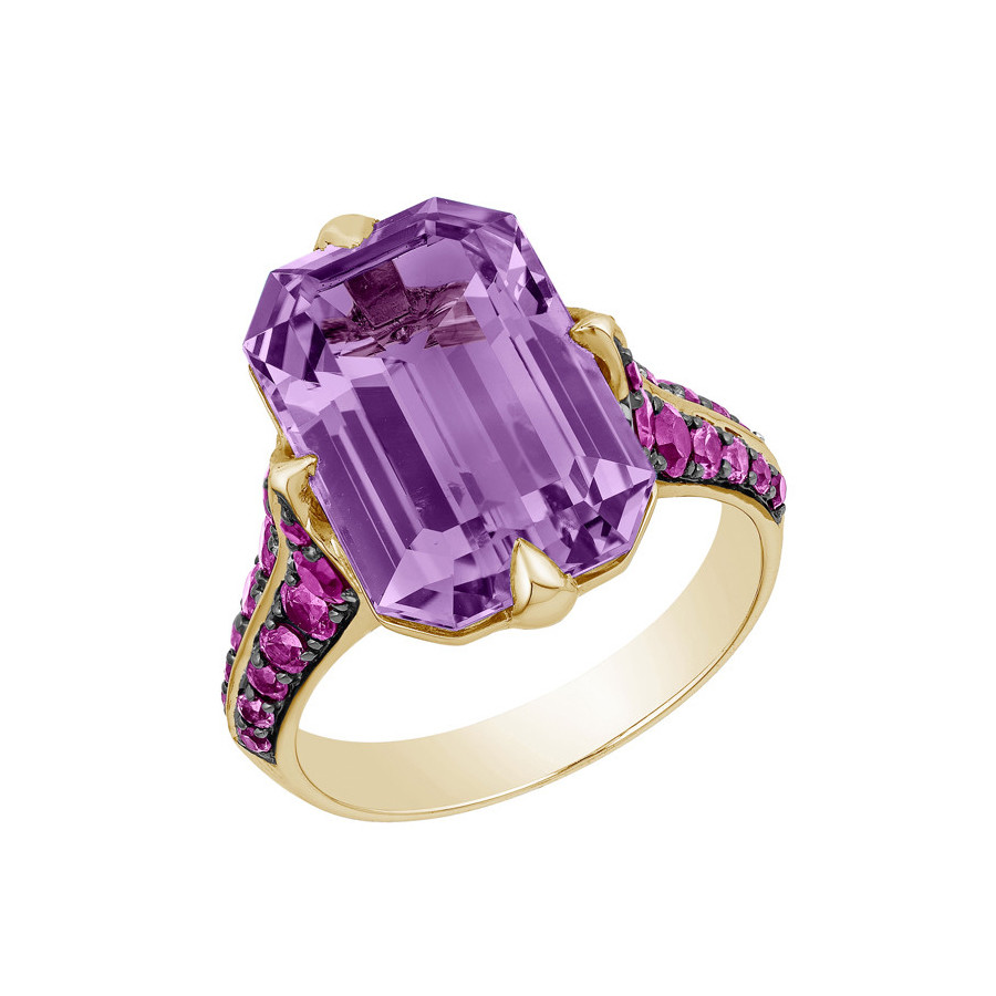 "Amethyst & Pink Sapphire ""Rain Forest"" Ring"