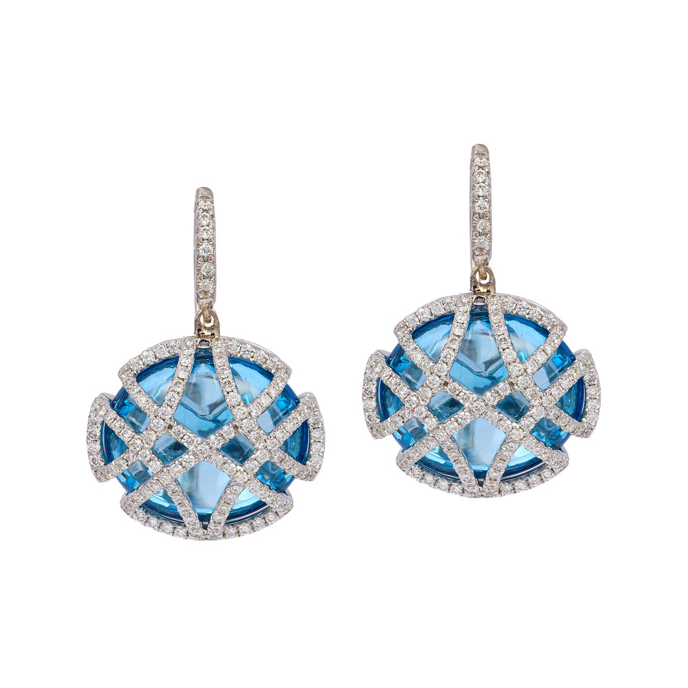 Blue Topaz & Diamond Cage Drop Earrings