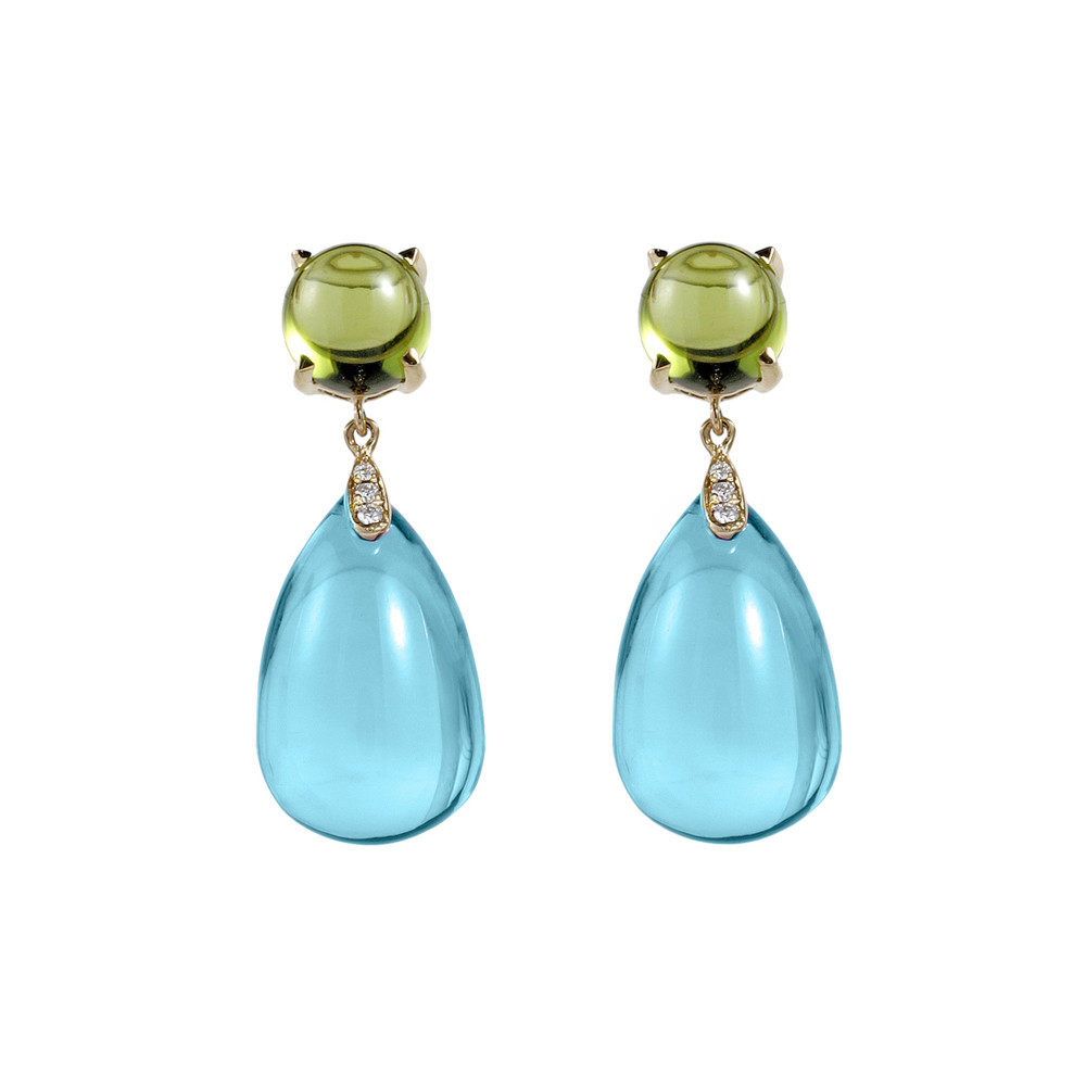Blue Topaz & Peridot Drop Earrings
