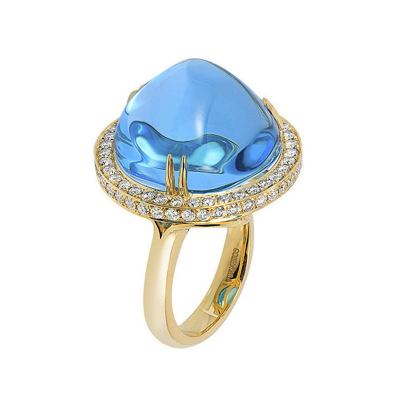 Cabochon-Cut Blue Topaz & Diamond Cocktail Ring