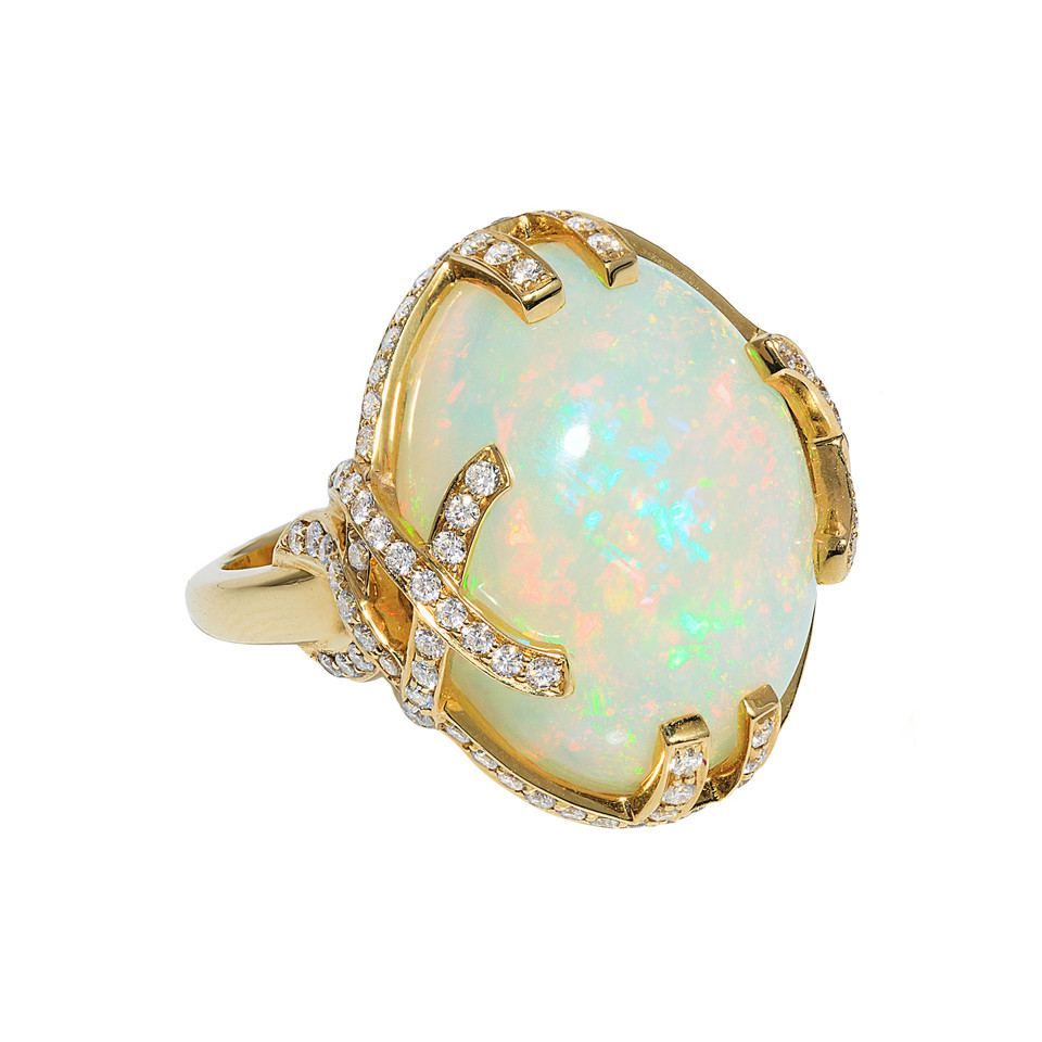 "Opal & Diamond ""G-One"" Cocktail Ring"