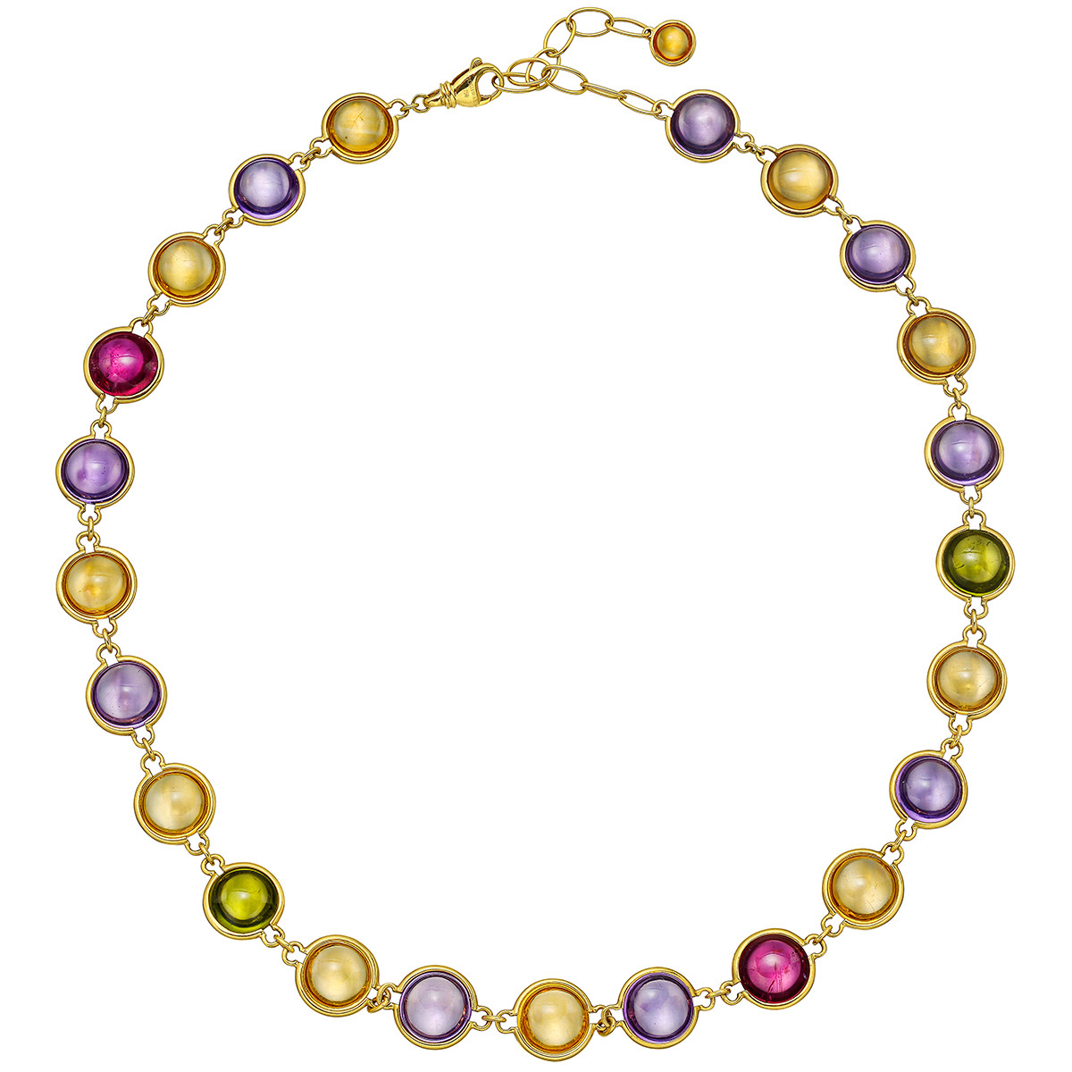 Multicolored Gemstone Link Necklace