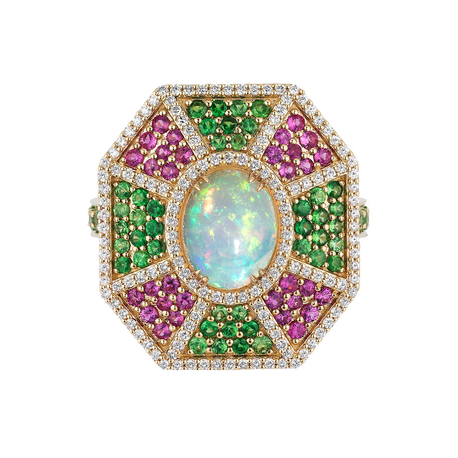 "Opal & Multicolored Gemstone ""G-One"" Ring"