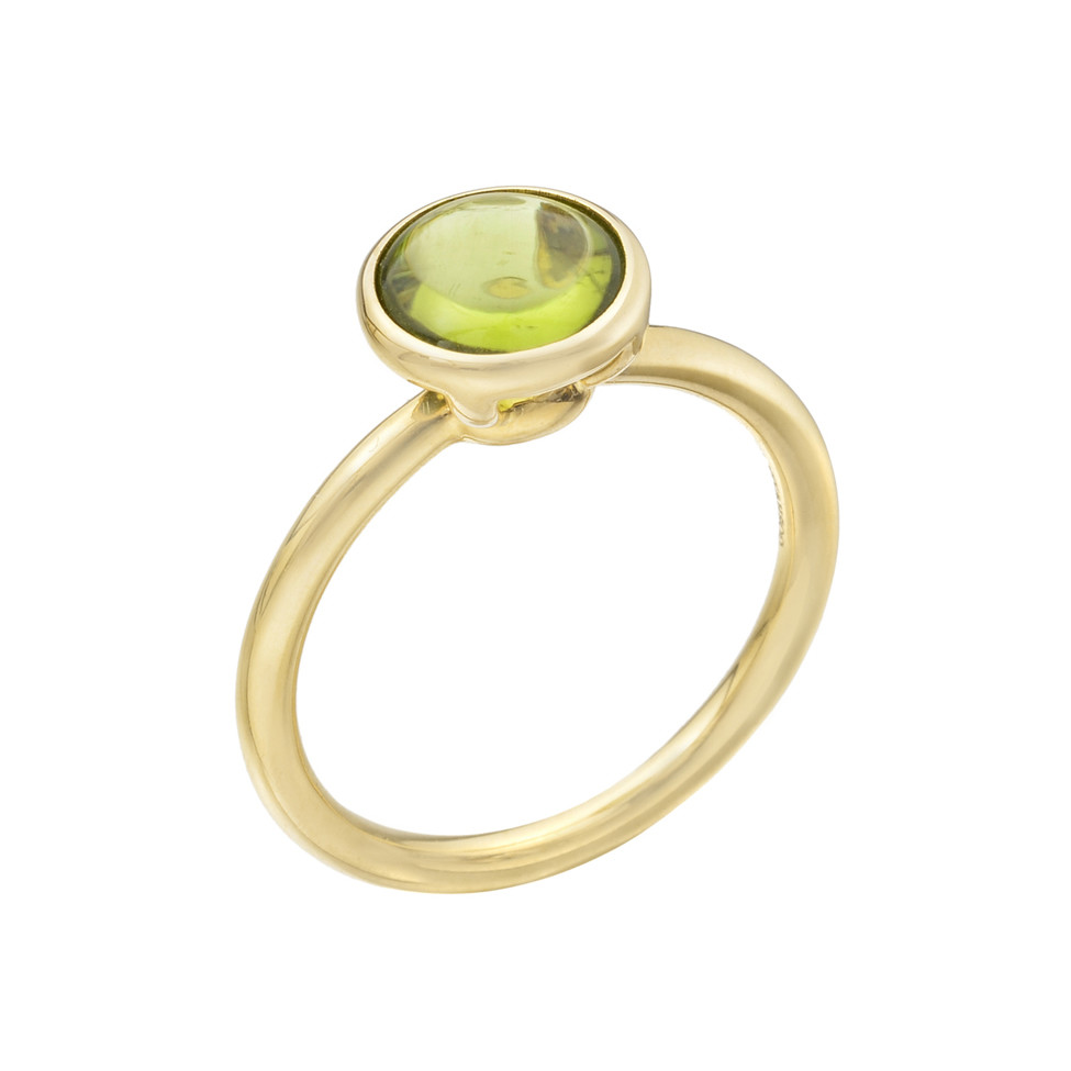 Stackable Circular-Cut Peridot RIng