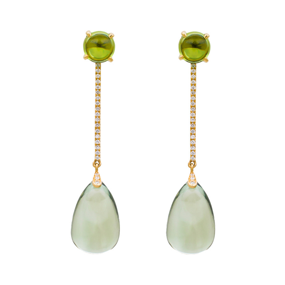 Prasiolite, Peridot & Diamond Drop Earrings