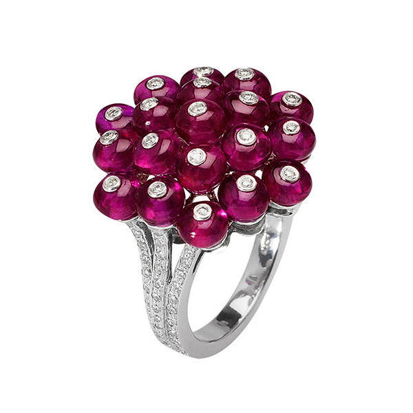 Ruby Bead & Diamond Cluster Ring