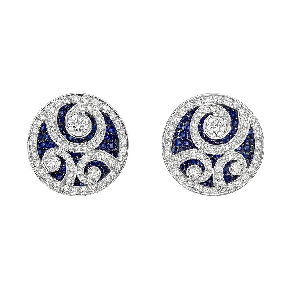 a pair cut of with diamonds shape oval pave classic collections graff hooks earrings featuring diamond swan