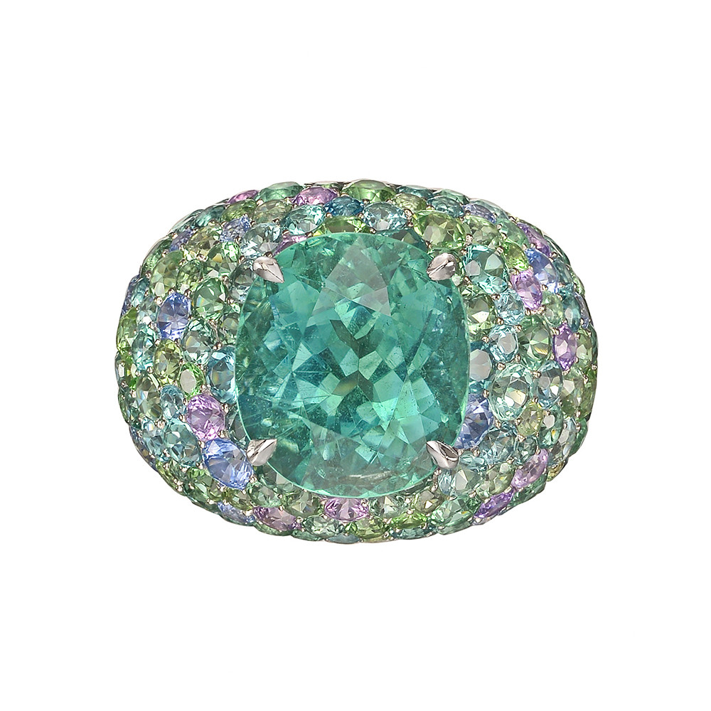 Green Tourmaline Domed Cocktail Ring