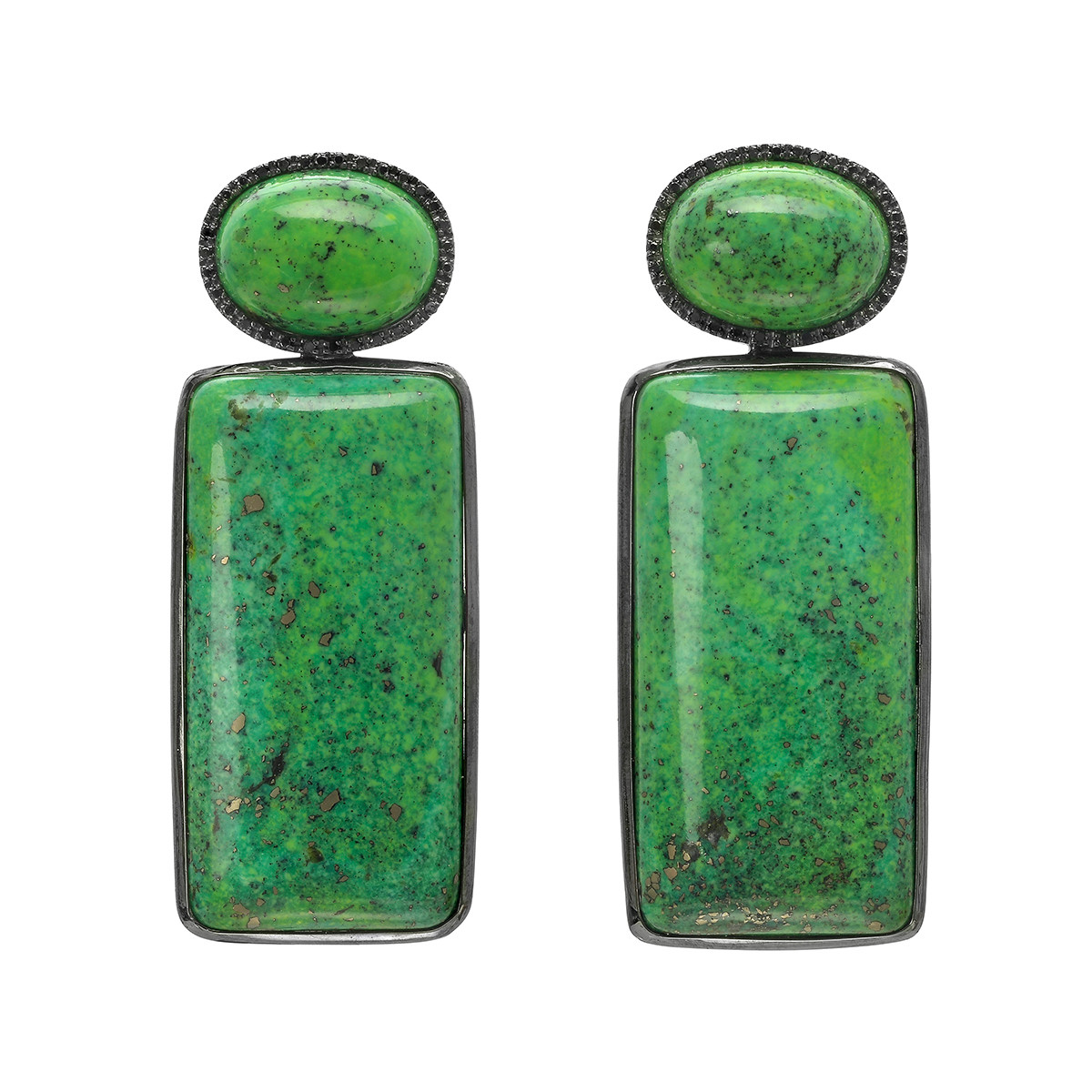Green Turquoise & Black Diamond Pendant Earrings