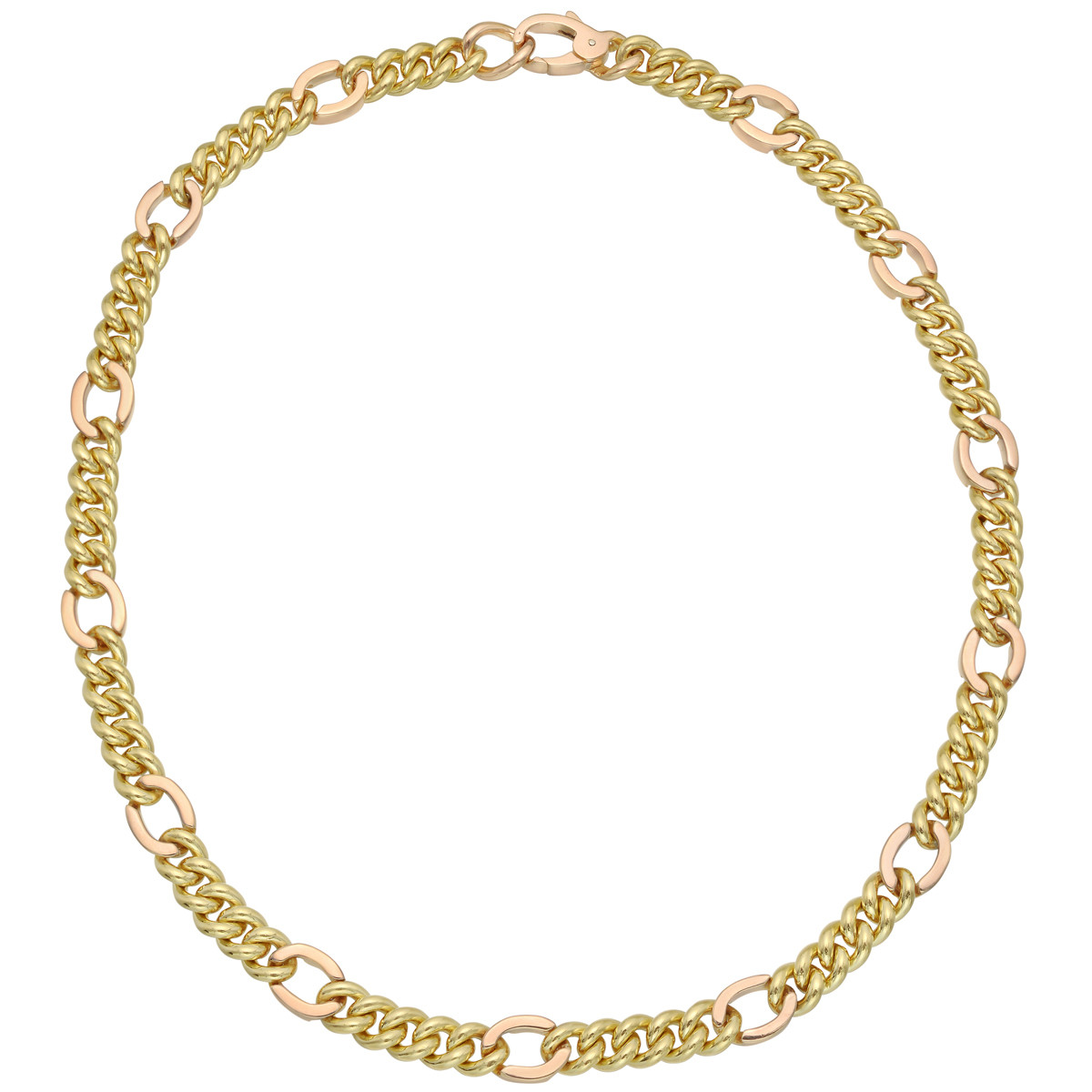 18k Yellow & Rose Gold Curb-Link Chain Necklace