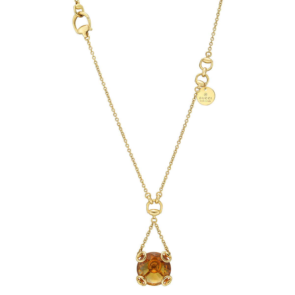 18k Yellow Gold & Citrine Pendant Necklace