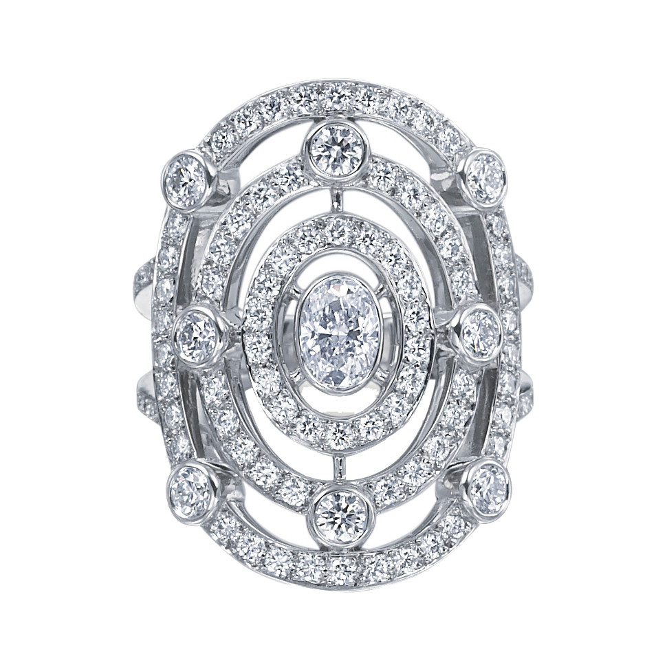 "18k White Gold & Pavé Diamond ""Carousel"" Ring"