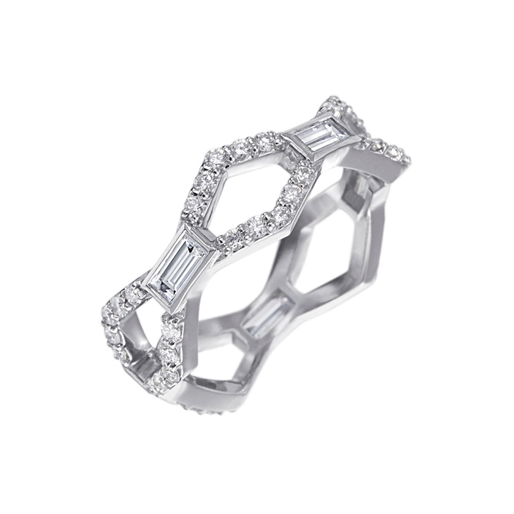 """Baguette & Round Diamond """"Deco"""" Band Ring"""