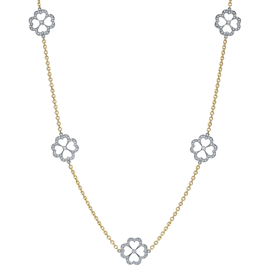 "Diamond Clover ""Kelly"" Station Necklace"