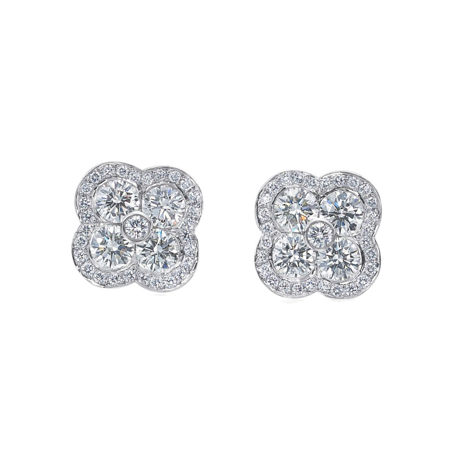 "Pavé Diamond ""Fleur"" Stud Earrings"