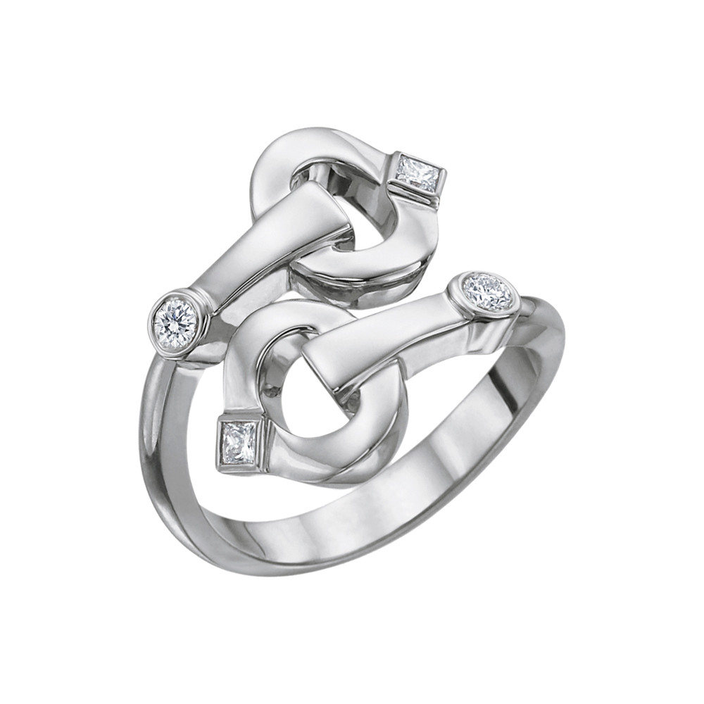 "18k White Gold & Diamond ""Gallop"" Bypass Ring"
