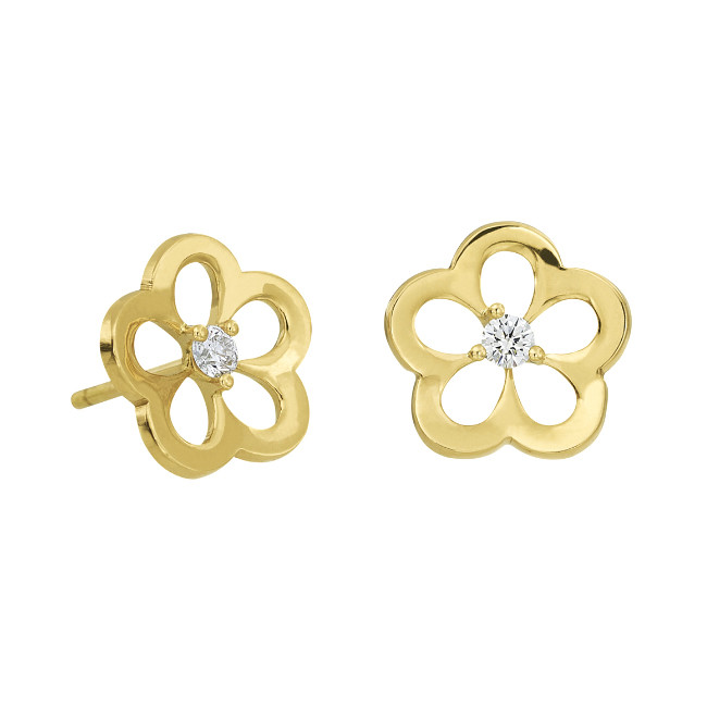 18k Yellow Gold & Diamond Daisy Stud Earrings