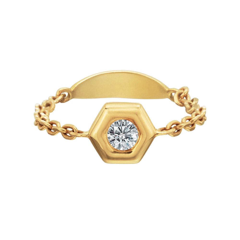 "18k Yellow Gold & Diamond ""Mini B"" Chain Ring"