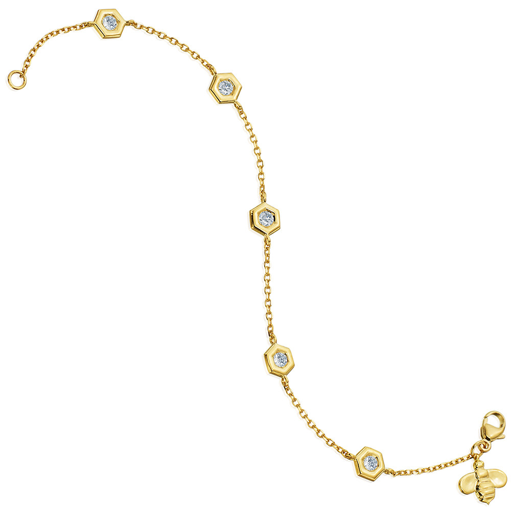 "18k Yellow Gold & Diamond ""Mini B"" Station Bracelet"