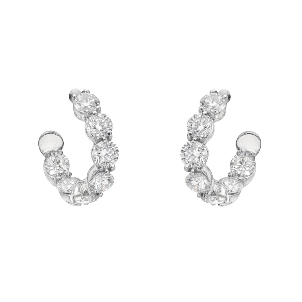 "Diamond ""New Moon"" Hoop Earrings"