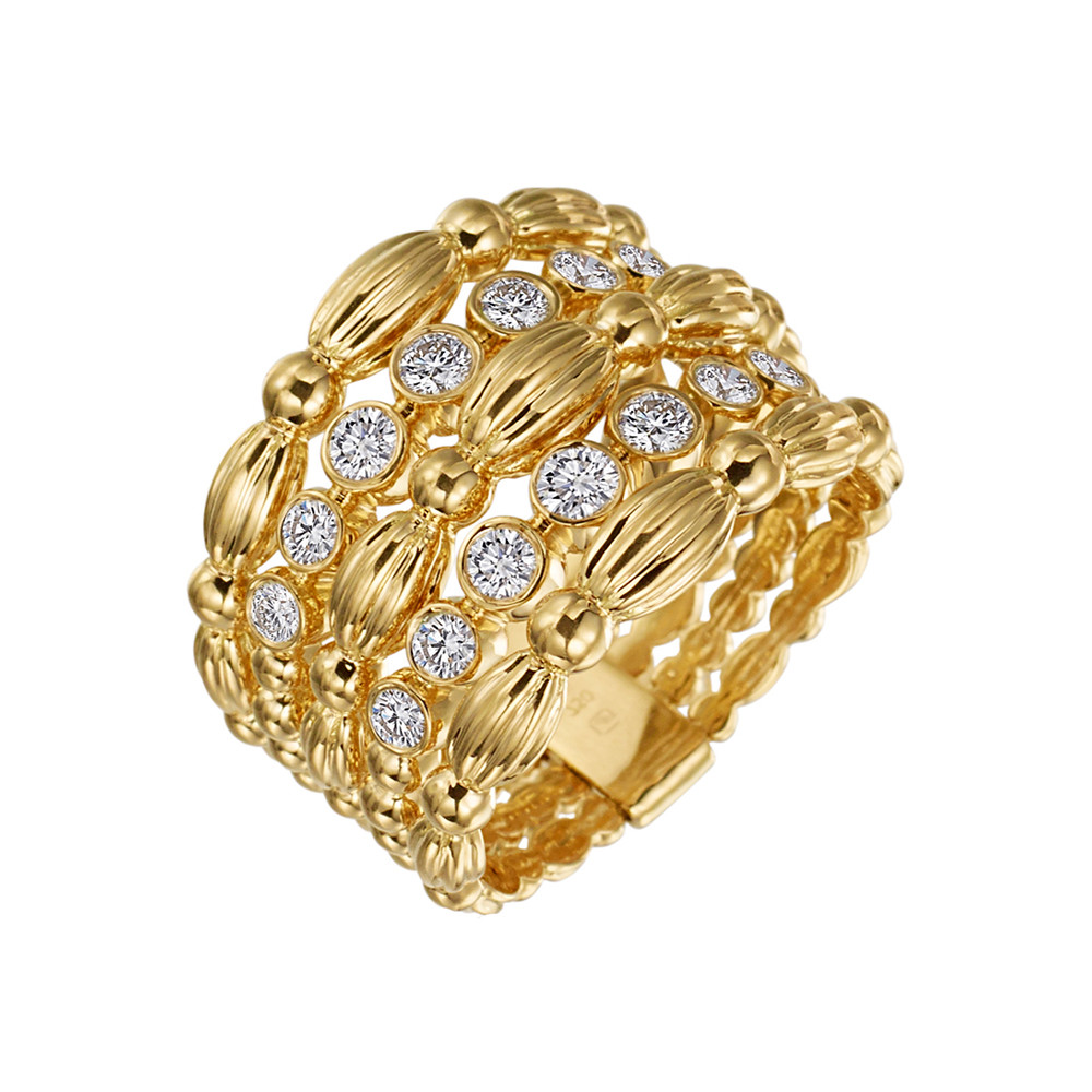 "18k Gold & Diamond ""Nutmeg"" 5-Row Band Ring"