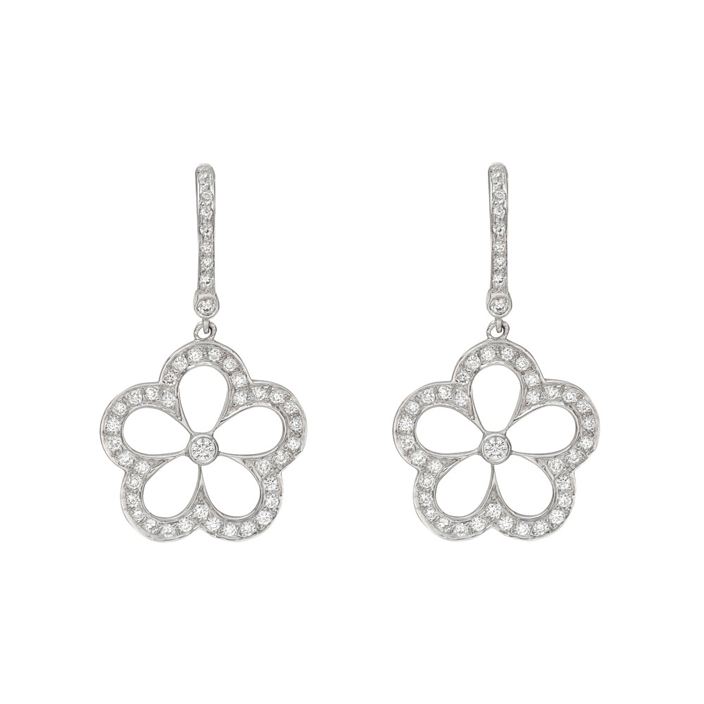 Pavé Diamond Daisy Drop Earrings
