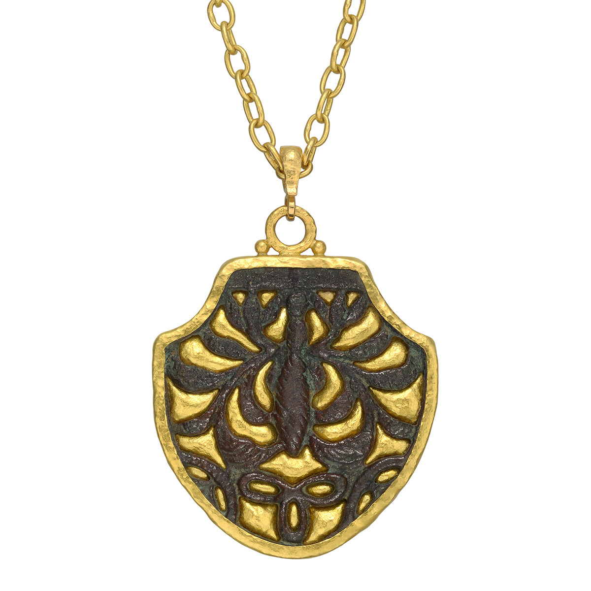"22k Yellow Gold & Bronze ""Byzantine"" Shield Pendant"